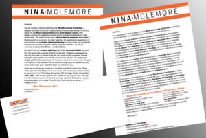 Direct Mail and E-mail letters for Nina McLemore Clothing